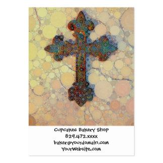 Modelo de mosaico cruzado cristiano fresco del plantilla de tarjeta de visita