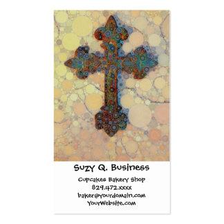 Modelo de mosaico cruzado cristiano fresco del tarjetas de visita