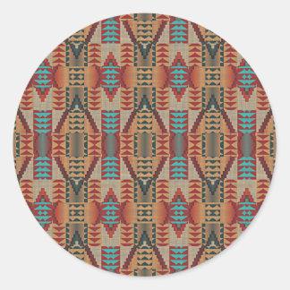 Modelo de mosaico indio de la cabina del nativo pegatina redonda