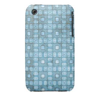 Modelo de mosaico retro azul enrrollado iPhone 3 Case-Mate carcasa