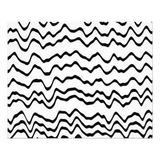 Modelo de ondas blanco y negro folleto 11,4 x 14,2 cm