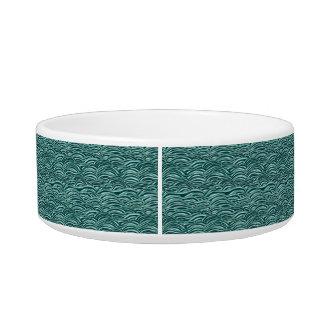 Modelo de ondas verde y azul. Textura del mar Comedero Para Mascota