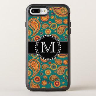 Modelo de Paisley del naranja y del trullo, con Funda OtterBox Symmetry Para iPhone 7 Plus