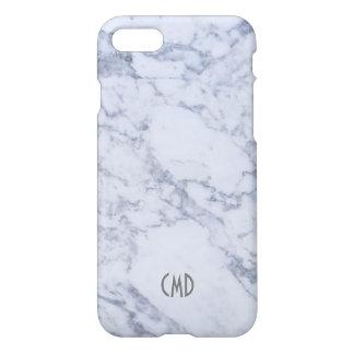 Modelo de piedra de mármol blanco del monograma funda para iPhone 7