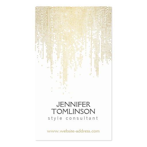 Modelo de punto de oro elegante en blanco plantilla de tarjeta de visita