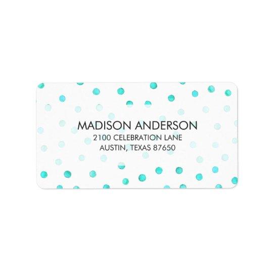 Modelo de puntos blanco azul del confeti del etiquetas de dirección