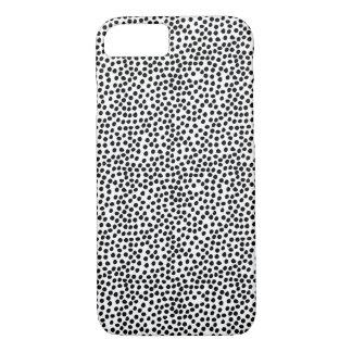 Modelo de puntos blanco y negro de la tinta funda iPhone 7