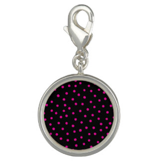 Modelo de puntos rosado y negro del confeti dijes con foto