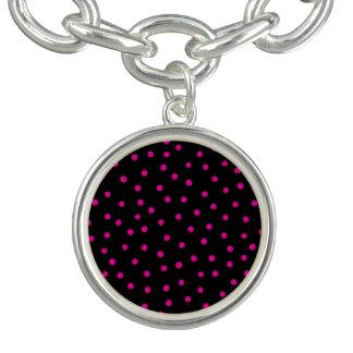 Modelo de puntos rosado y negro del confeti pulseras con dijer