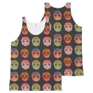Modelo de Watercolor Dia de los Muertos Skulls Camiseta De Tirantes Con Estampado Integral