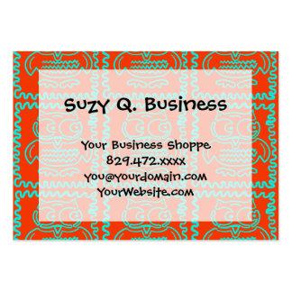 Modelo de zigzag azul del trullo anaranjado tarjetas de visita grandes