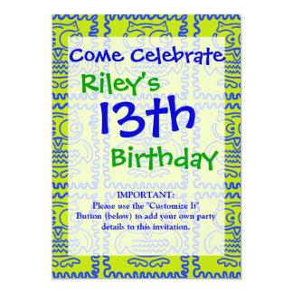 Modelo de zigzag azulverde de la cal colorida de invitación 12,7 x 17,8 cm