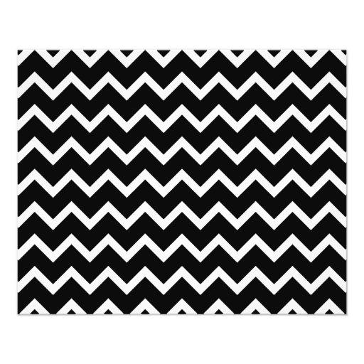 Modelo de zigzag blanco y negro tarjeton