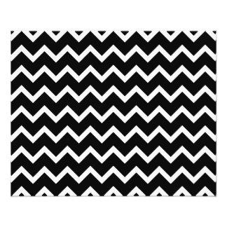 Modelo de zigzag blanco y negro folleto 11,4 x 14,2 cm