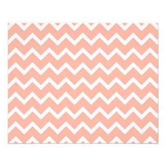 Modelo de zigzag coralino y blanco folleto 11,4 x 14,2 cm