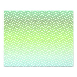 Modelo de zigzag verde folleto 11,4 x 14,2 cm