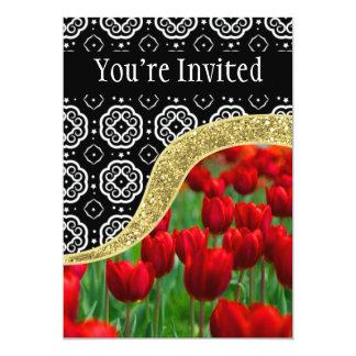 Modelo decorativo de BW de los tulipanes del Invitación 12,7 X 17,8 Cm