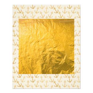 Modelo del ancla del oro, en blanco, infante de folleto 11,4 x 14,2 cm