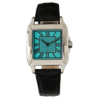 Modelo del art déco, turquesa/pavo real reloj de pulsera