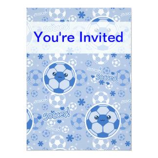 Modelo del azul del balón de fútbol de Kawii Invitacion Personal