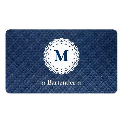 Modelo del azul del monograma del cordón del camar tarjeta de visita