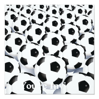 Modelo del balón de fútbol invitación 13,3 cm x 13,3cm