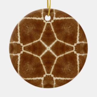 Modelo del caleidoscopio de la piel de la jirafa adorno navideño redondo de cerámica