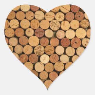 Modelo del corcho del vino pegatina en forma de corazón