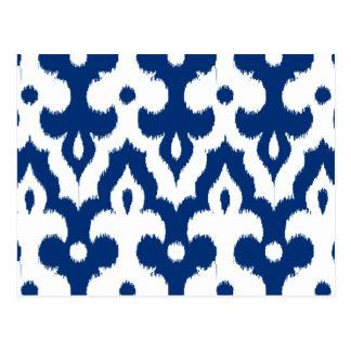 Modelo del damasco de Ikat del marroquí, azul de Postal