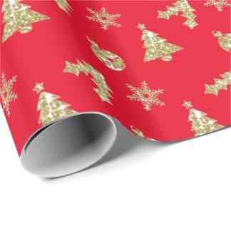 Modelo del día de fiesta del navidad de oro papel de regalo