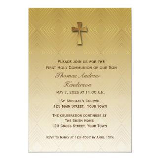 Modelo del diamante del oro, religioso invitación 12,7 x 17,8 cm