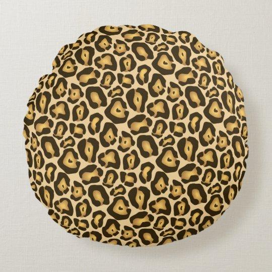 Modelo del estampado de animales de Brown Jaguar Cojín Redondo