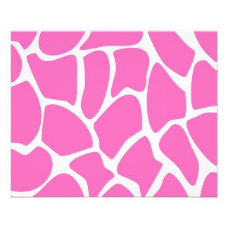 Modelo del estampado de girafa en rosa brillante folleto 11,4 x 14,2 cm