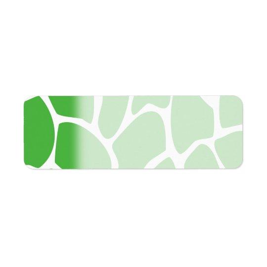 Modelo del estampado de girafa en verde de la etiqueta de remite
