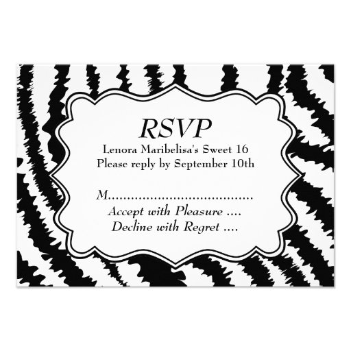 Modelo del estampado de zebra del dulce 16 invitacion personal