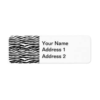 Modelo del estampado de zebra etiqueta de remite
