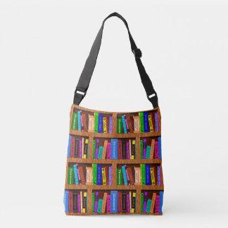 Modelo del estante de la biblioteca de los libros bolso cruzado