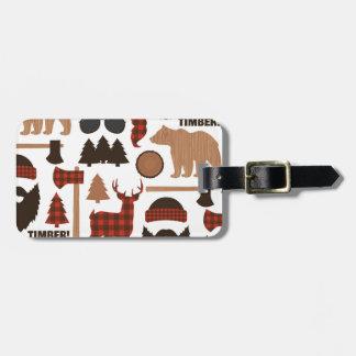 Modelo del leñador etiqueta para maletas