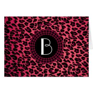Modelo del leopardo del estampado de animales tarjeta de felicitación