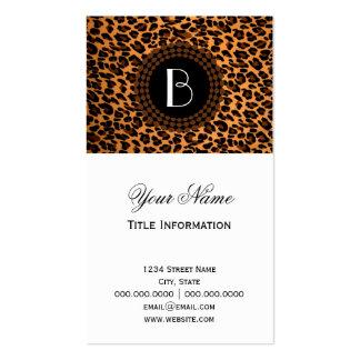 Modelo del leopardo del estampado de animales plantilla de tarjeta de negocio