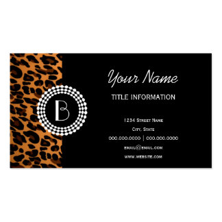Modelo del leopardo del estampado de animales tarjetas de visita