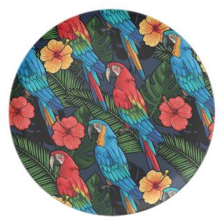 Modelo del Macaw y del hibisco Platos De Comidas