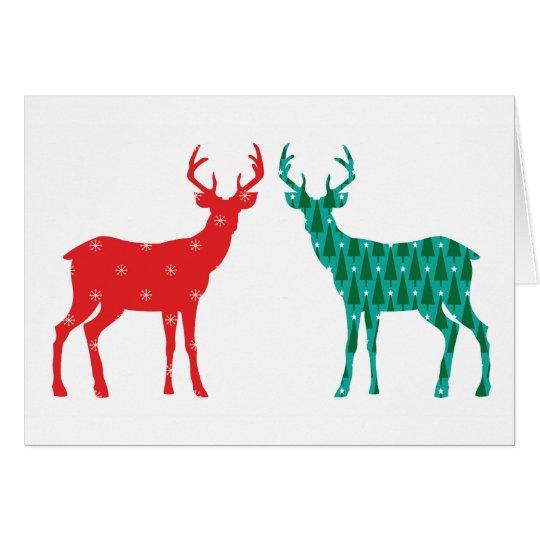 Modelo del navidad del dólar de los ciervos - tarjeta de felicitación