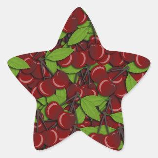 Modelo del verano - cerezas pegatina en forma de estrella