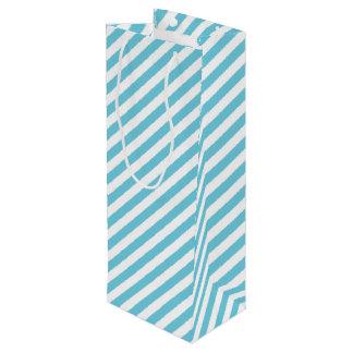 Modelo diagonal azul y blanco de las rayas bolsa para vino