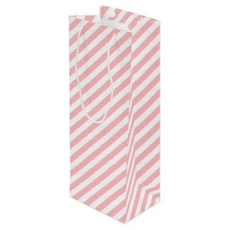 Modelo diagonal del rosa y blanco de las rayas bolsa para vino