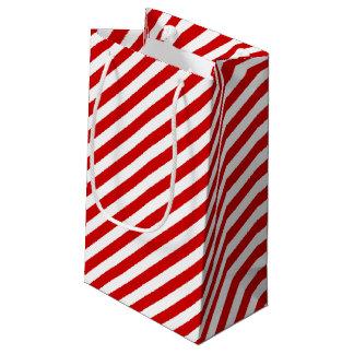 Modelo diagonal rojo y blanco de las rayas bolsa de regalo pequeña