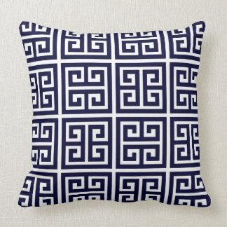 Modelo dominante griego azul y blanco profundo cojín decorativo