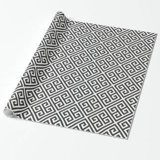 Modelo dominante griego blanco y negro del papel de regalo