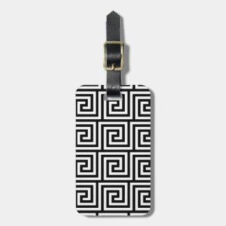Modelo dominante griego gráfico blanco y negro etiquetas de equipaje